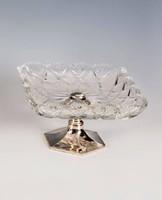 Ezüst talpú, kocka alakú üveges asztalközép