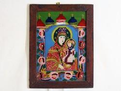Antik Erdélyi Üveg Istenszülő Ikon Mária a Gyermek Jézussal 46x35cm