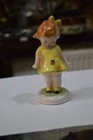 Kerámia katicás kislány figura