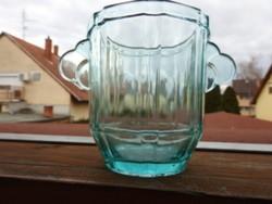 Antik halványkék üveg vödör - pezsgőhűtő vödör
