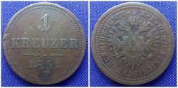 1 krajcár 1851 B/id 1571/
