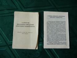 MDP Magyar Dolgozók Pártjának szervezeti szabályzata + MSZMP szervezeti szabályzata