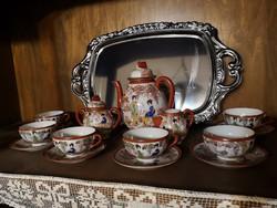 6 db-os japán porcelán teázó készlet cukor és citromlé tartóval, kitűnő állapotban eladó