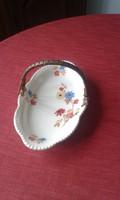 Bavaria,  márkájú, virág mintás porcelán tányér, fonott vessző füllel( 1927-ből) eladó.