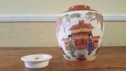 Japán teafűtartó, kézzel festett