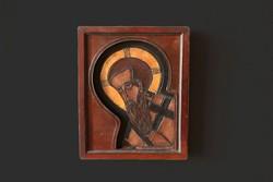 Szent Pál - bőr borítású ikon réz rátéttel 23,5x19x3,5cm Péter