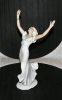 Táncosnő régi Unterweissbach Wallendorf porcelán figura 25,5 cm