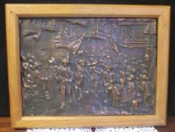 Mozgalmas,jelenetes bronz színű falikép