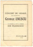 George Enescu által dedikált programfüzet