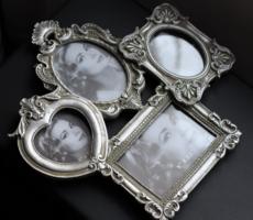 Ezüst színű fényképtartó fotótartó képkeret 4 fotónak