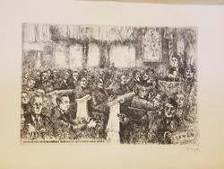Az Ideiglenes Nemzetgyűlés megnyitó ülése Debrecenben 1944. december 21. Varga Nándor rézkarc