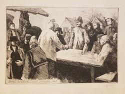 Megalakulnak az első termelőszövetkezeti csoportok 1948 őszén. Gy. Molnár István rézkarc