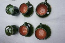 Túri zöld mokkás csészék eladók alátéttel.