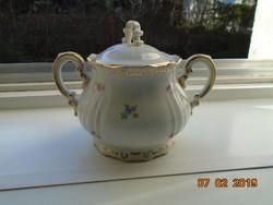 Újszerű Barokkos Zsolnay,aranytollazott dombormintákkal,apró virágos cukortartó kávés készlethez