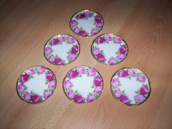 Rózsás Rosenthal tányérkák, 6 db., antik