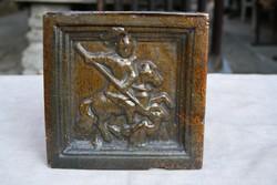 Barokk mázas kályhacsempe, Sárkányölő Szent György