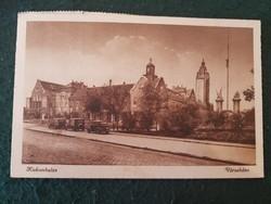 Kiskunhalas városháza autó, automobil régi képeslap