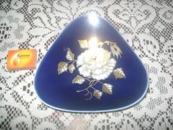 Ech Kobalt kézzel festett, dúsan aranyozott porcelán tál, asztalközép
