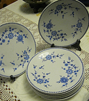6 db kék virágos tányér Bavaria 19 cm