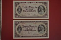 1945 100 pengő sorkköv 2 db. EF