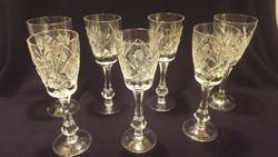 Csiszolt kristály pohár, üveg pohár, pezsgős, talpas rövides ( 7 db)