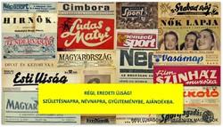 1989 február  /  fürge ujjak  /  SZÜLETÉSNAPRA RÉGI EREDETI ÚJSÁG Szs.:  4939