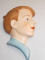 Porcelán Fiú fej falidísz