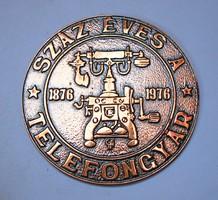 'Száz éves a telefongyár 1876-1976' plakett