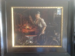 Stoll.j.  A  kovács  olaj vászon   festménye