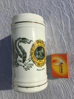 Hollóházi porcelán,emlék korsó, söröskorsó Kőolaj és Földgáztermelő Szolnok - Olajos relikvia