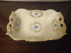 Nagy Herendi kék Waldstein mintás porcelán kínáló tál