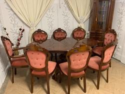 Neobarokk étkező asztal 8 db mályva székkel