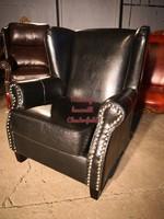 Chesterfield design fekete füles bőr fotel!