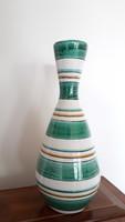 Retro mázas kerámia csíkos váza 28 cm