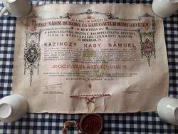 Antik egyetemi oklevél 1937