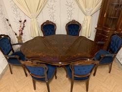Neobarokk étkező asztal 6 db királykék székkel