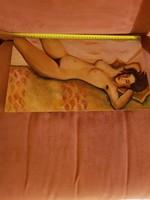 Szép akt, olaj, faroston, közepes méret, Ilyés Márta festménye