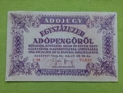 Adójegy egyszázezer adópengőről 1946/id 2623/