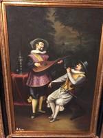 90x60.antik Olaj-Vászon festmény.