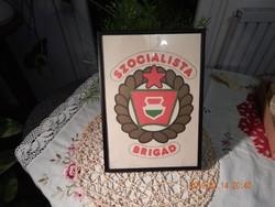 Retro emléklap - HM szocialista brigád- vörös csillaggal!