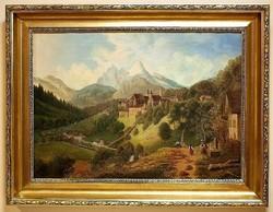 Tájkép várral,19.sz-i festmény