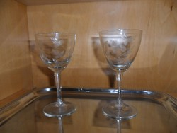 2 db ritka, metszett pezsgős pohár