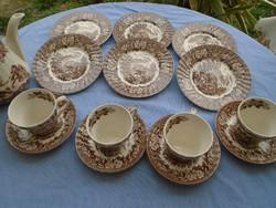 Antik angol fajansz majolikából  teás és süteményes készlet szépen pokhállos máz repedezet