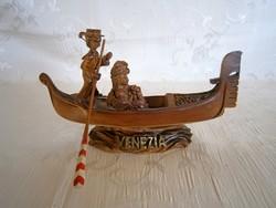 Régi, jelzett, kézzel faragott eredeti Velencei talán kerámia gondola + ajándék leporello képeslap