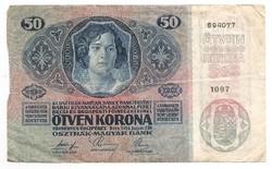 50 Korona 1914 Osztrák Felülbélyegzéssel