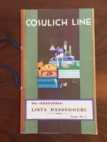 Cosulich Line hajótársaság, Amazzonia óceánjáró, tengerjáró utaslista, 1934