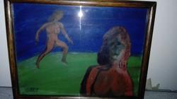 Hornyánszky Gyula : Egy nyári éj  -   olajfestmény, üvegezett keretben