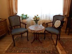 Társalgó garnitúra karosszék szék intarziás asztal