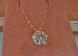 Csodás 2ct valódi moissanite gyémánt 14kt arany nyaklánc