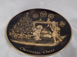 Porcelán - JELZETT - ARANYOZOTT tányér 1975 - limitált 24 karátos arannyal 19 cm HÁTULJÁN MÁZREPEDÉS